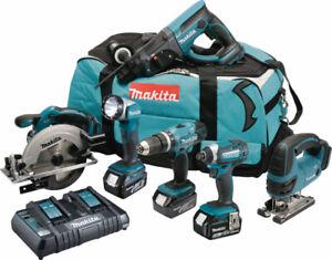 Makita DLX6068PT 18v 6 Piece Kit 3 x 5.0Ah Li-ion Twin Port Charger + Tool Bag