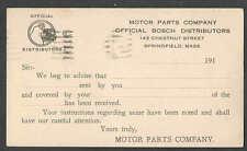 1924 PC SPRINGFIELD MA MOTOR PARTS CO SELLS BOSCH AUTO PARTS