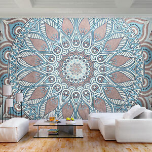 VLIES FOTOTAPETE Mandala Ornament braun blau TAPETE WANDBILDER XXL Wohnzimmer 72
