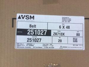 "(Case of 20) VSM 251027 6"" x 48"" Abrasive Belt 80 Grit (NEW)"
