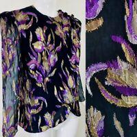 Vintage PATRA Metallic Floral Purple Gold Silver Black Evening Top, S/M