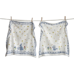 Set of 2 Flour Sack Kitchen Towels by Tag - Bunny and Chick Delft with Flowers