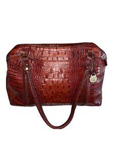 BRAHMIN Red Croc Leather Hobo Shoulder Carryall Purse Bag