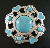 Belt Buckle Blue Turquoise Stones Flower Hearts Rhinestones Buckles