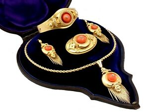 20.25 ct Coral and Diamond 22 ct Yellow Gold Jewellery Set Antique Victorian