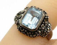 925 Sterling Silver - Vintage Blue Topaz & Marcasite Solitaire Ring Sz 5 - R5853