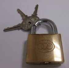 "50MM 2"" KEYED ALIKE SUITED BRASS PADLOCK C/W 3 KEYS GATE GARAGE LOCKER SHED"