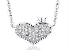 """1CT Diamond Crown heart Necklace Sterling Silver 925 Chain 18"""" Love MOM Gift #30"""