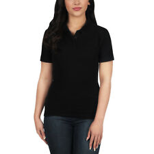 Ladies Polo Shirt Short Sleeve Womens Plain Pique Classic Top T Shirt Lot 22 - 24 Black 1 Shirt