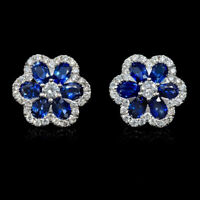 14k White Gold Over 2.00ct Sapphire & Diamond Flower Shape Stud Women's Earrings