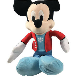 """Disney Mickey Mouse Plush 21"""" Red Jacket Blue Snowflake Sparkly Shoe 2017 Winter"""