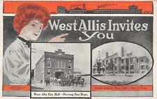 West Allis WI~Red Head Invites You~Fire Department~Factory Silhoutte~School~1905