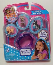Puppy In My Pocket 3 Charms Puppies & Puppy Charm Purple Bracelet Set