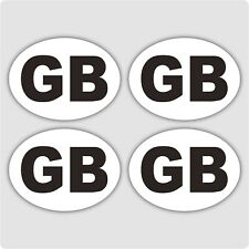 4 x GB CAR STICKERS - White oval self-adhesive vinyl GB stickers for cars, vans