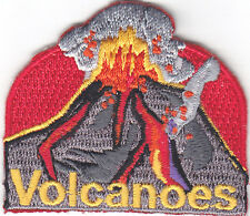 """""""VOLCANOES"""" Iron On Embroidered Applique Patch /Nature, Earth, Words"""