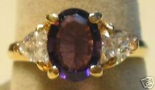 Amethyst Ring  CZ  accent stones yellow gold   (241)