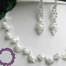 Set COLLIER Halskette Ohrringe STRASS PERLEN~Brautschmuck Hochzeit Blumenk ~#07