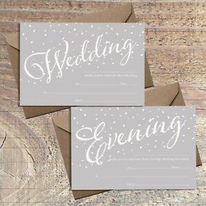WEDDING INVITATIONS BLANK GREY & WHITE CONFETTI PRINT, PACKS OF 10