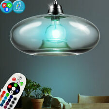 RGB LED Plafonnier Lampe Suspendue Ovale Verre Rauch-Farben Nickel Mat