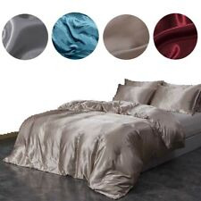 Silk Satin Duvet Cover Fitted Bedding Set Covers Home Pillowcases Sheet 2 Sizes