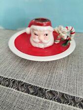 Vintage Christmas Japan santa candle holder mid century kitschy