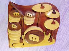 Intarsia Drums Wooden Set Handcrafted Secret Puzzle Trinket Box Drummer Gift