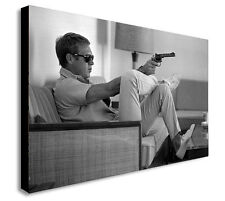 STEVE McQUEEN HOLDING GUN - Canvas Wall Art Framed Print. Various Sizes