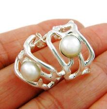 Sterling 925 Silver and Pearl Hoop Earrings