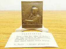 Antique 1903 French George Dupre MEDITATION Bronze Rectangular Plaque and Stand
