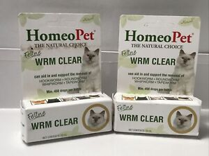Lot of 2 - HomeoPet Feline WRM CLEAR 15 mL support removal of Worms