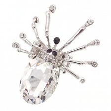 """Spider Halloween Cocktail Finger Ring Costume Jewelry Rhinestone Clear Silver 2"""""""