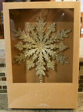 New Pottery Barn Gold Glitter Beads SNOWFLAKE Christmas Holiday Tree Topper