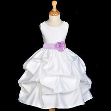 WHITE FLOWER GIRL DRESS WEDDING PAGEANT BRIDESMAID TODDLER PICKUP S L 2 4 6 8 10