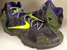 Nike Lebron XI 11 iD Black Volt Purple Grey White SZ 13.5 (641216-991)