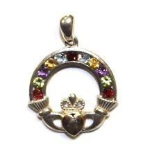 STERLING SILVER MULTI-COLOR CZ STONE IRISH CLADDAGH PENDANT LOT# IP26975