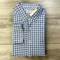Faherty Men's Plaid Blue Indigo Long Sleeve Button Front Shirt Size 2XL XXL $128