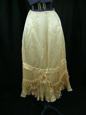 Antique 1920-30s Peach Silk Fringes Pleated Silk Skirt Slip-Waist 26""