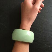 Bracelet en Laiton Emaillé Vert Vintage Rétro Bangle