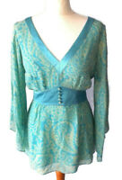 Planet Size 10 Green Blue Floral Floaty Silk Top Tie Waist Holiday Summer Boho