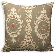 Lewis and Wood Ikat Bukhara Lino Designer Tessuto Federa Copri Cuscino Verde 20