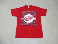 VINTAGE Detroit Red Wings Shirt Adult Large Red Hockey Stanley Cup Mens 90s B22*