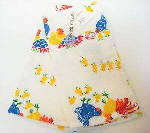 Set/2 April Cornell Cotton Kitchen Tea Towels Chickens Roosters Chicks - NEW