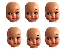 """Lot of 6 Vintage 3"""" Small Girl Celluloid Plastic Craft Doll Making Faces Masks"""