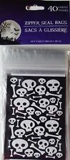 NEW Halloween Treat Bags with Zip Seal (40 Count) Skulls & Bones ~ FREE SHIPPING