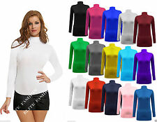 New Ladies Long Sleeve Plain Turtle Polo Neck Top Women T-shirt Plus Size
