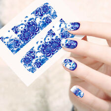 Blooming Flowers Water Transfer Stickers Nail Decals Watermark Full Wrap Foils