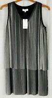 REISS Womens Black Mix Sleeveless Dress Size 10 NEW