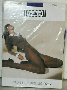 New WOLFORD Velvet DE LUXE 50 Tights Blue INK Purple S Small