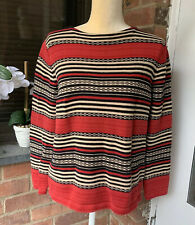 Lauren Ralph Lauren Womeny sweater size P/M Red beige black striped long sleeve