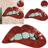 Embroidered iron on patches for clothing Red sequins Lips Motif Applique DIY
